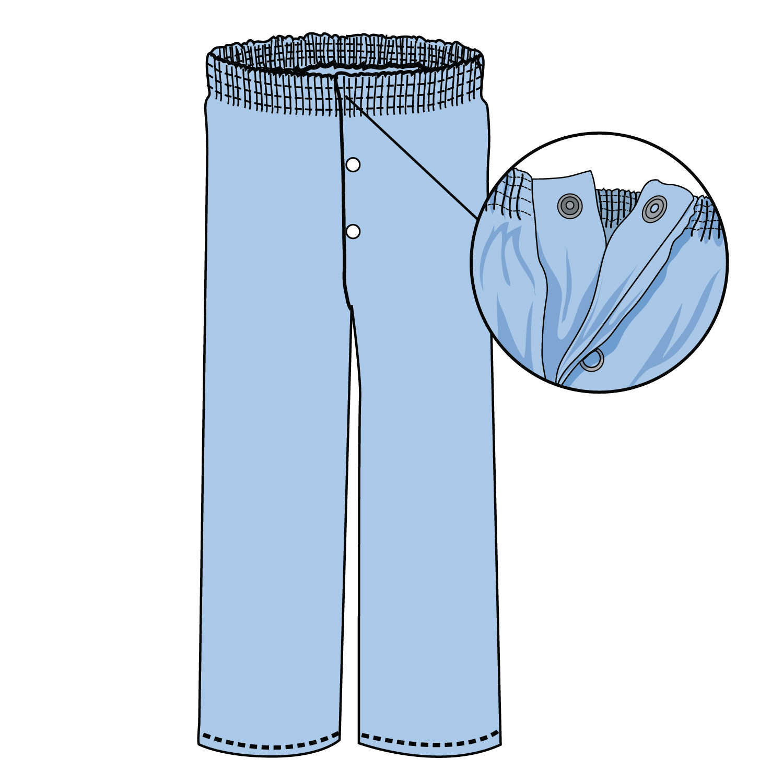 #705-PJ Pant, elastic waist, snaps