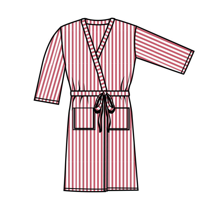 #901-Seersucker Robe w/belt