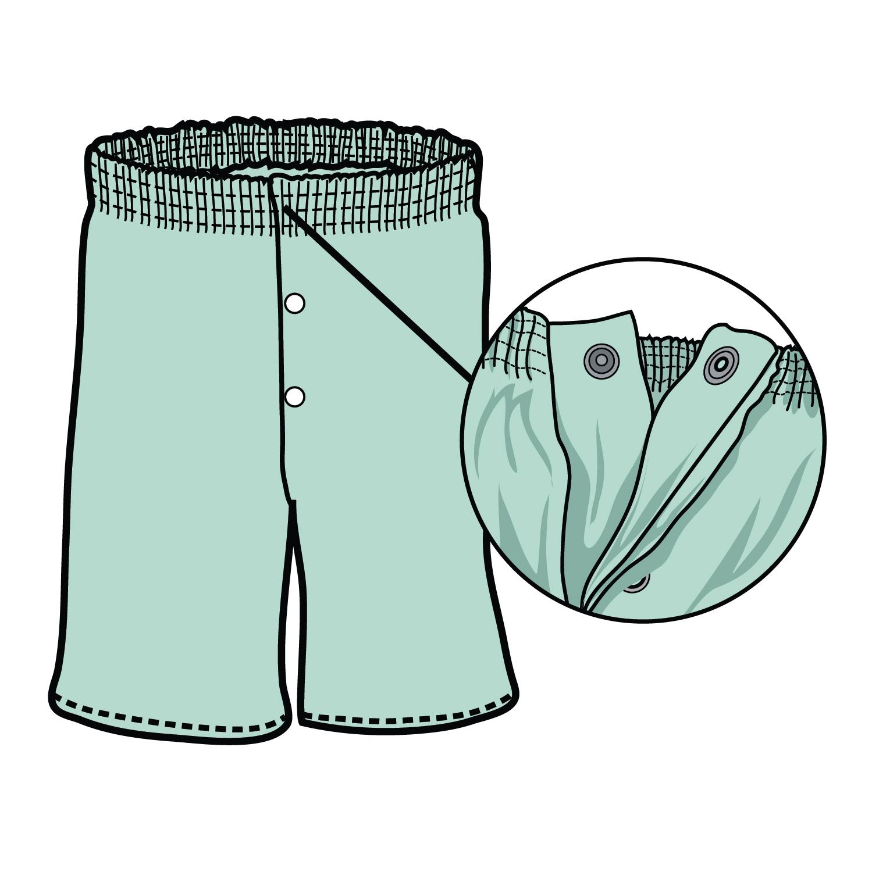 #705SH- PJ Short, elastic waist, snaps